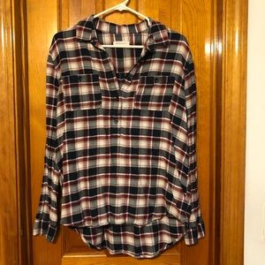 Flannel- maroon, navy blue, beige, and white plaid